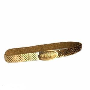 Vintage Gold Stretch Belt Metal Sequin Elastic